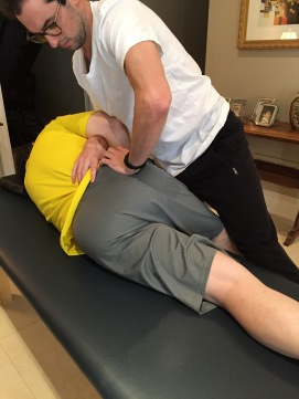 Treating the pelvic and lumbar structures - no high velocity thrusts are applied by manual osteopaths